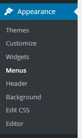 menu option - appearance - menus