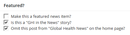 ghi - post editor - featured news item entry box